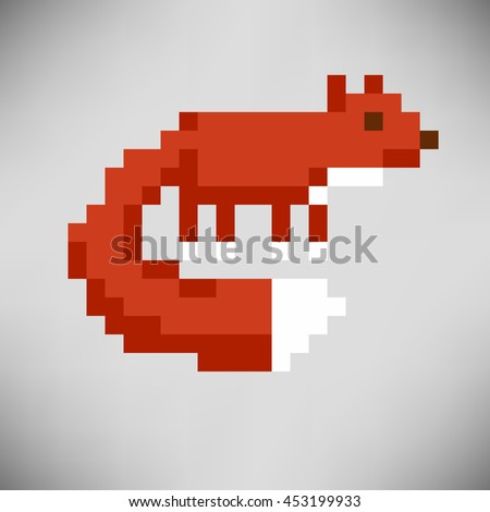 Fox abstract isolated on a white background. Vector illustration in the style of old-school pixel art. - stock vector
