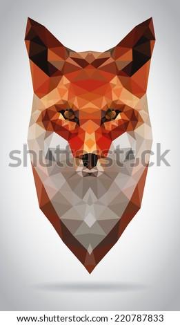 Fox head vector isolated, geometric modern illustration - stock vector