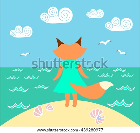 Fox in a dress standing on a beach looking at the sea. Vector illustration - stock vector