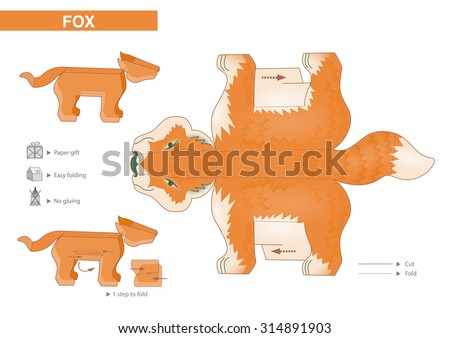 Fox Paper Model - Cutouts for children. Small home craft project or printable paper gift and decoration. Fold without gluing. Vector template - stock vector