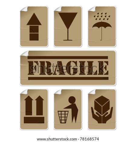 Fragile and safety badly glued stickers, isolated and grouped objects against white background - stock vector