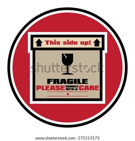 FRAGILE - HANDLE WITH CARE Stamp: Vector - stock vector