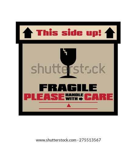 FRAGILE - HANDLE WITH CARE Stamp: Vector on White - stock vector