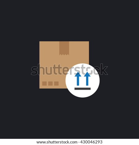 Fragile icon. cardboard with up arrows icon - stock vector