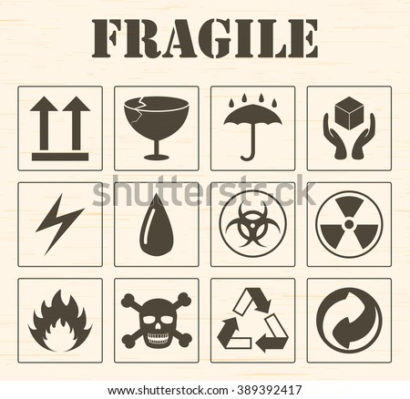 fragile logo set - stock vector