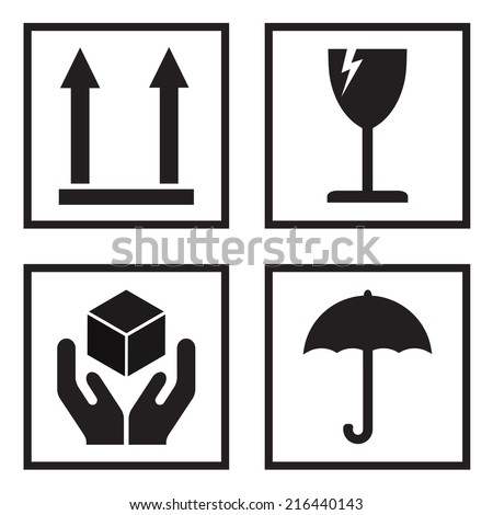 Fragile or packaging symbols. Black fragility signs on white background. Vector illustration. - stock vector