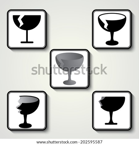 Fragile sticker ,Label and Button Icon - stock vector