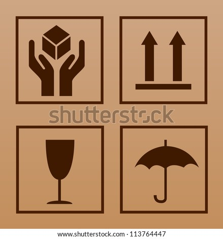 Fragile symbol on cardboard background - stock vector