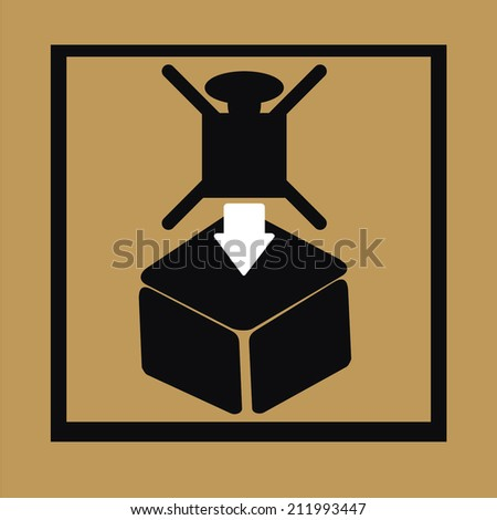 Fragile symbol on cardboard background, Do not overlay the box with heavy things - stock vector