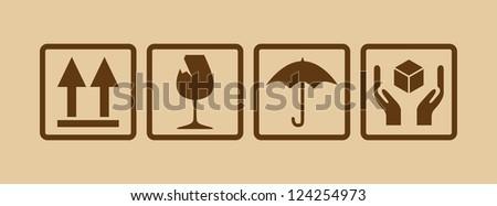 fragile symbol on cardboard - illustration - stock vector