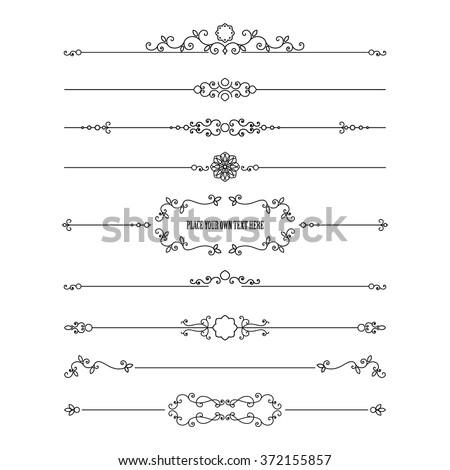 Frame and dividers set isolated on white. Calligraphic design elements. - stock vector