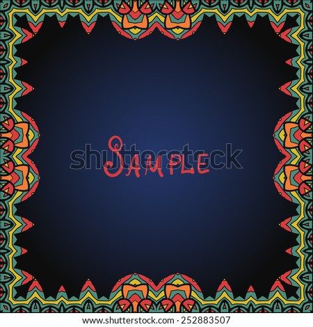 Frame border in red and green color. A lot of copyspace. - stock vector
