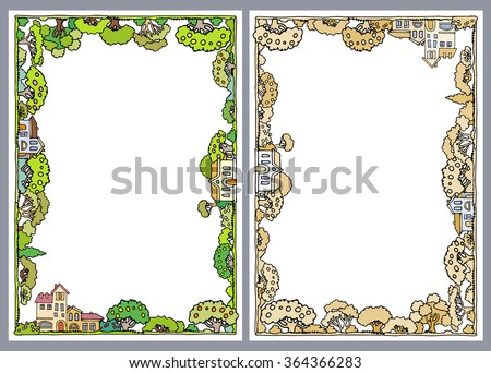 Frame composition with trees and houses on white background.Vector cartoon trees and shrubs.Fresh green trees.Apple trees with fruits,summer garden.Hand drawn sketchy trees and bushes - stock vector