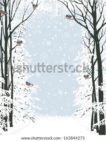 Frame composition with trees on sides and flock of bullfinches. All objects are separated to layers - stock vector