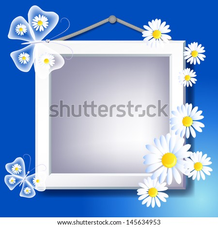Frame, daisy and transparent butterfly - stock vector