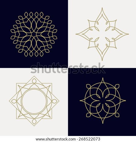 Frame design in flat style, Vector geometric frame Simple monogram and logo design. Vector logo set - stock vector