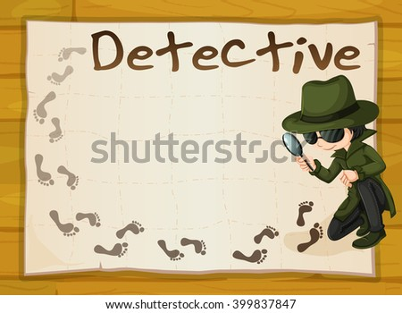 Frame design with detective and footprints illustration - stock vector
