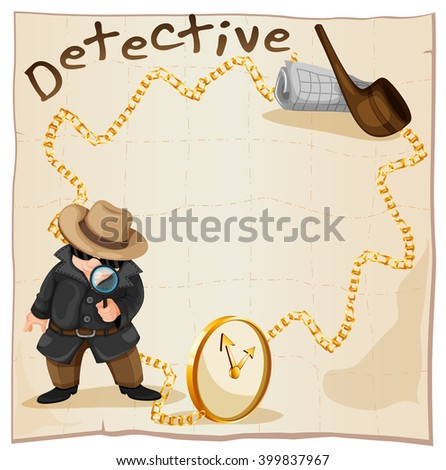 Frame design with detective and smoking pipe illustration - stock vector