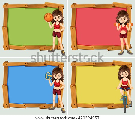 Frame design with woman athlete illustration - stock vector