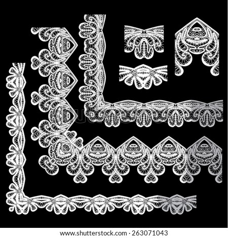 Frame Elements Set - different lace edges and borders - Seamless stripes - floral lace ornament - white on black background - stock vector