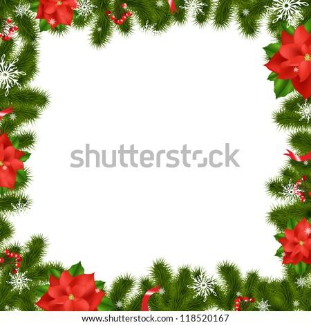 Christmas border frame poinsettia stock photos images for Poinsettia christmas tree frame