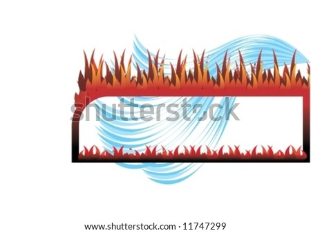 Frame fire and water illustration. Look for more illustrations in my portfolio. - stock vector