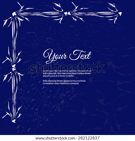Frame for text with elegant abstract floral motif and scratches - stock vector