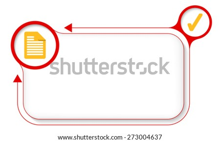 Frame for your text with document icon and check box - stock vector