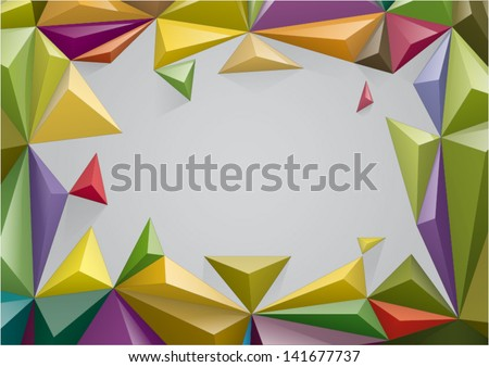 Frame from color pyramid, You can change the color keeping 3d form - stock vector