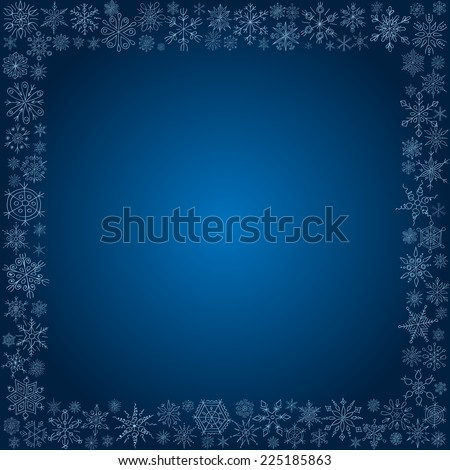 Frame from snowflakes for a card - stock vector