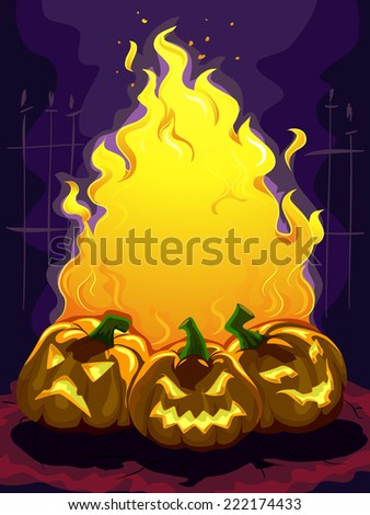 Frame Illustration Featuring a Bonfire Surrounded by Jack-o'-Lanterns - stock vector