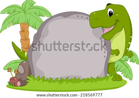 Frame Illustration Featuring a T-Rex Peeking from Behind a Stone Slab - stock vector