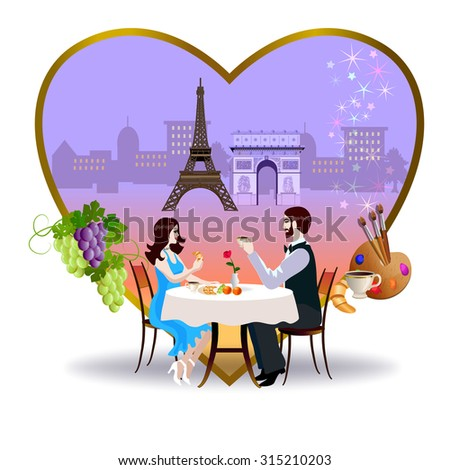 Frame in the form of heart. At the bottom of frame is a young couple sitting at a table of cafe. Around the frame are located objects that are typical of Paris and France. - stock vector
