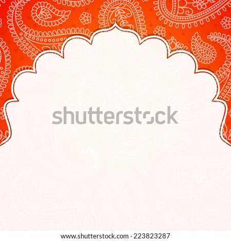 Frame in the Indian style on the background with paisley pattern. Vector illustration. Eps10. - stock vector