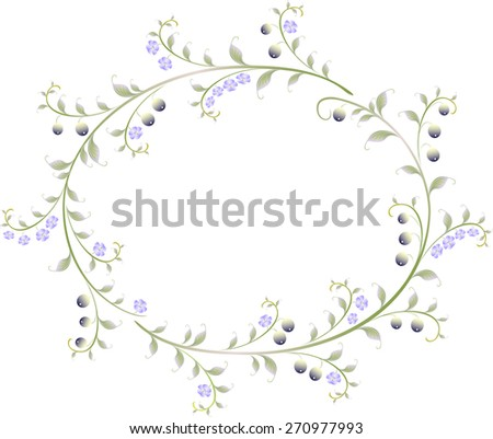Frame in the shape of an ellipse of berries and flowers. EPS10 vector illustration. - stock vector