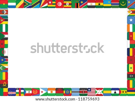 frame made of African countries flags vector illustration - stock vector