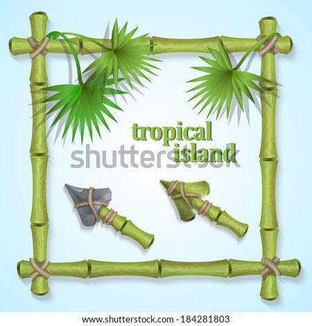 frame of bamboo leaves with tropical palm trees and two types of cursors for website design in the style of tropical islands. - stock vector