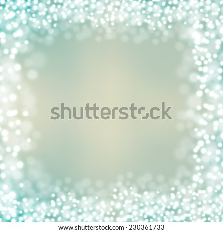 Frame of Christmas lights bokeh background blur - stock vector