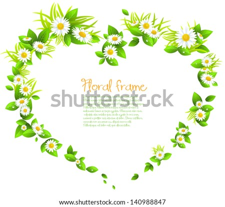 Frame of flowers in the shape of a heart - stock vector