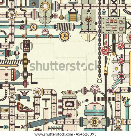 Frame of the machine parts, assemblies, devices, interlocking pipes. Retro texture, mechanisms, background on separate layers. - stock vector