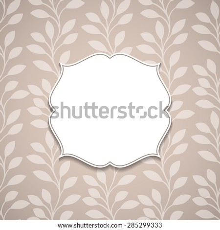 Frame on a nature ornamental backgrounds with leaves.Vector illustration.  - stock vector