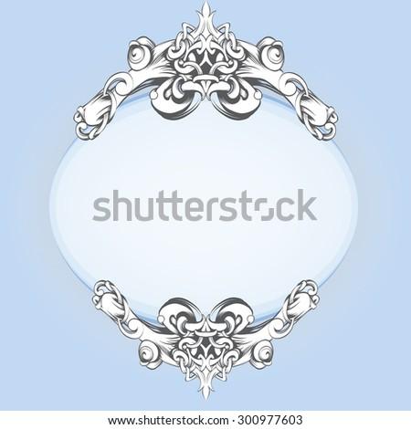 frame oval vintage baroque flowers - stock vector