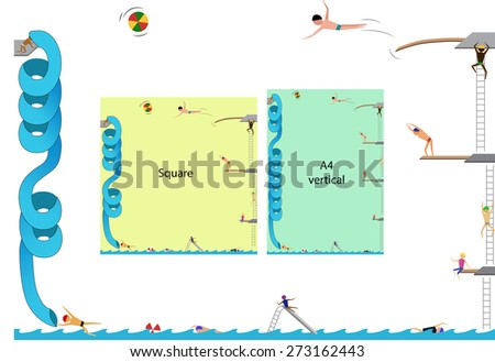 """Frame, people playing in the swimming pool, """"A4"""" horizontal and vertical or square frame - stock vector"""
