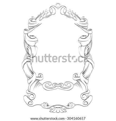 frame vintage baroque flowers vector - stock vector