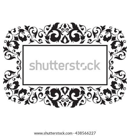 Frame. Vintage baroque ornament. Retro pattern antique style acanthus. Decorative design element filigree calligraphy - stock vector