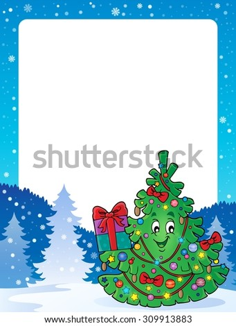 Frame with Christmas tree topic 1 - eps10 vector illustration. - stock vector