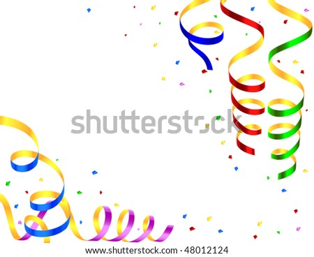 frame with colored streamers - stock vector