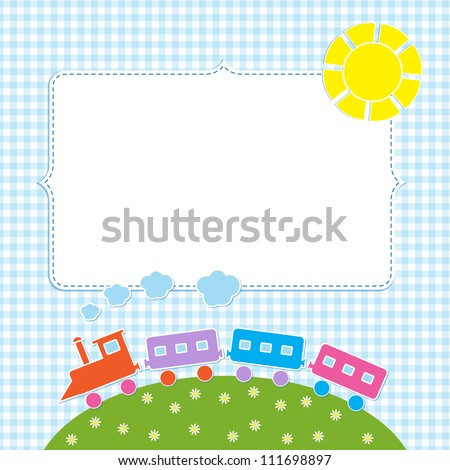 Frame with colorful train - stock vector