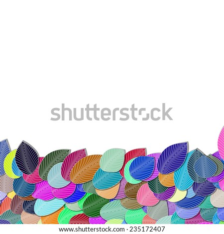 frame with colors leaves for your design - stock vector