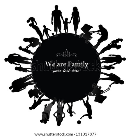 Frame with family silhouettes. - stock vector